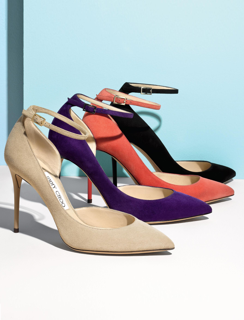 Jimmy Choo Lucy 100 Suede Ankle-Strap Pumps
