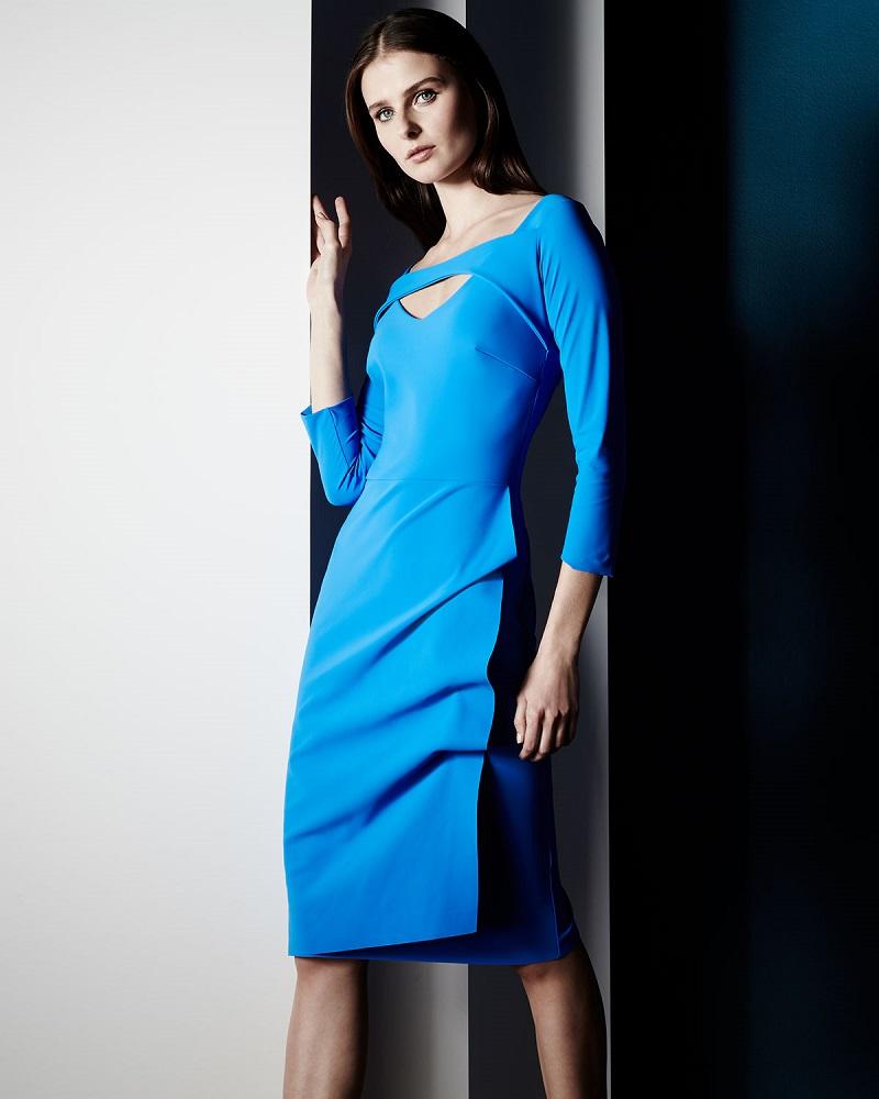 La Petite Robe di Chiara Boni Jovita 34-Sleeve Peekaboo Ruched Dress