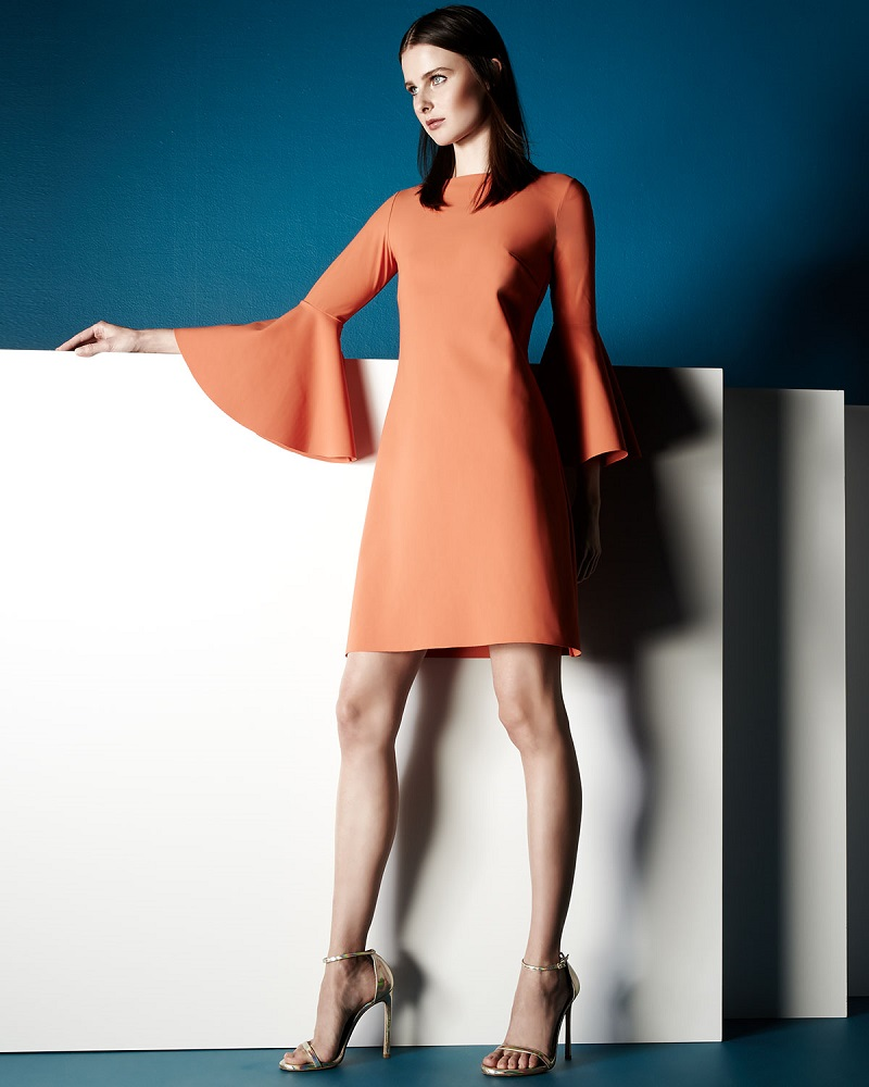 La Petite Robe di Chiara Boni Natalia Bell-Sleeve A-line Cocktail Dress