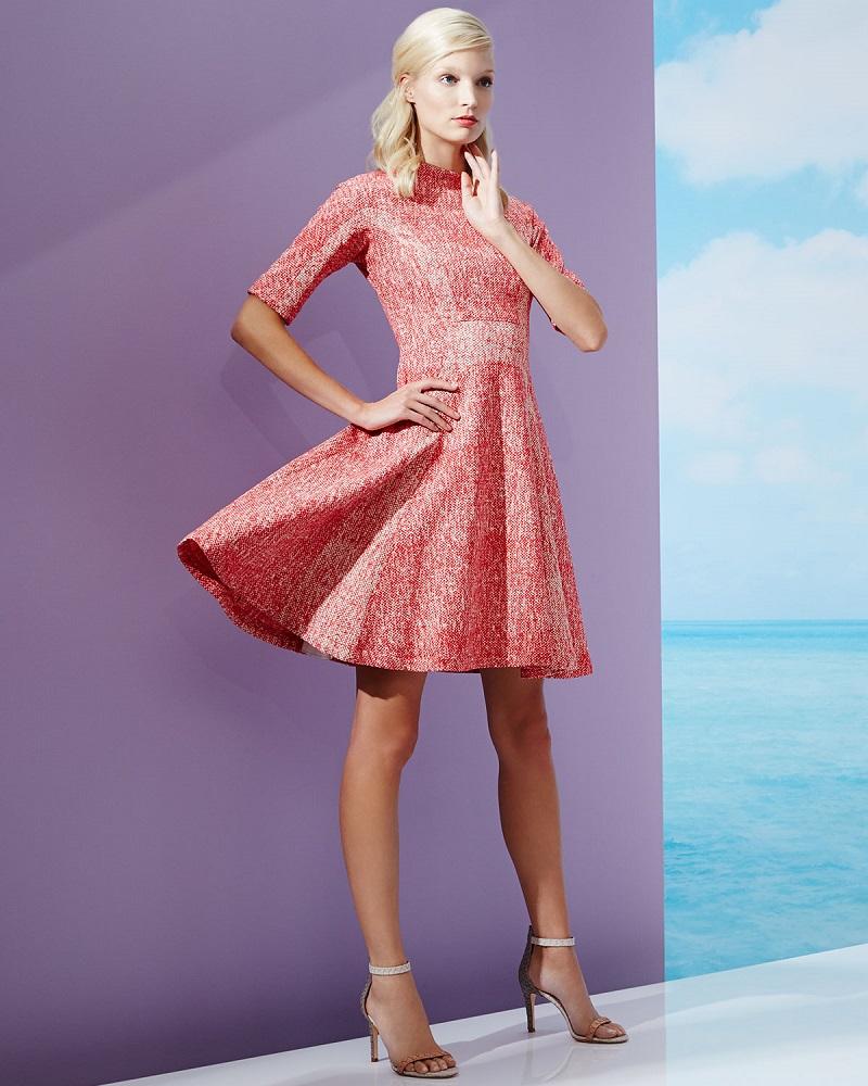 Lela Rose Half-Sleeve Fit-&-Flare Dress