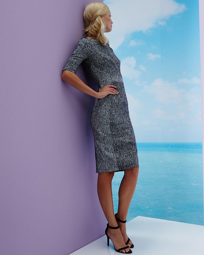 Lela Rose Half-Sleeve Seamed Sheath Dress (2)