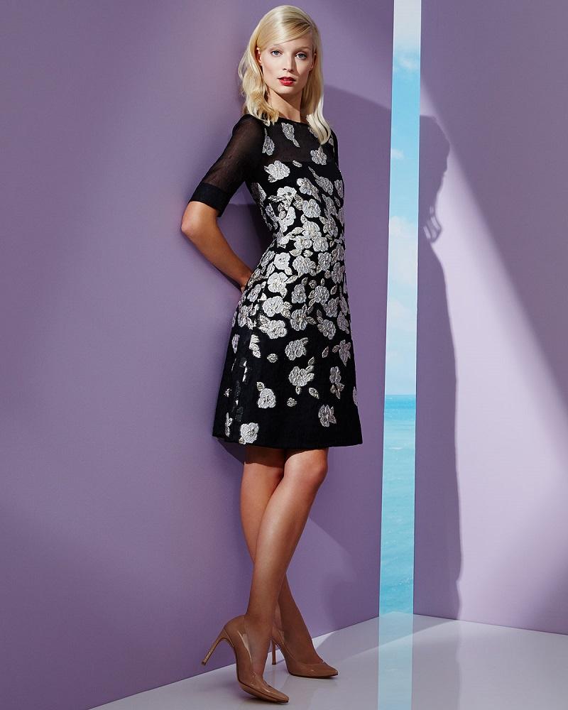 Lela Rose Stamped-Floral A-Line Dress