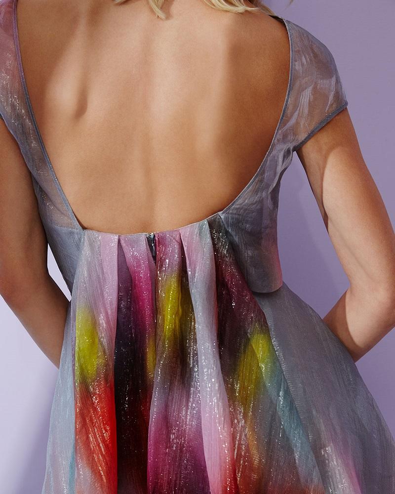 Lela Rose Watercolor Short-Sleeve Backless Dress-