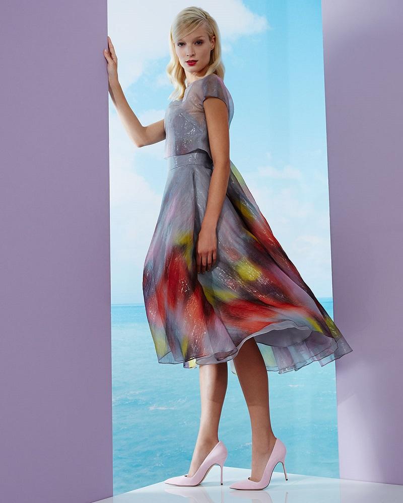 Lela Rose Watercolor Short-Sleeve Backless Dress