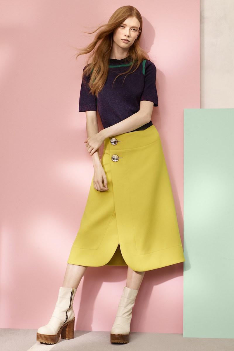 Marni A-Line Jewel Button Midi Skirt