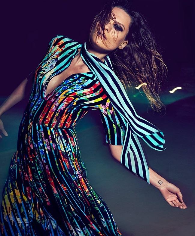 Mary Katrantzou Acti Techno Flowers Stripe-print maxi dress