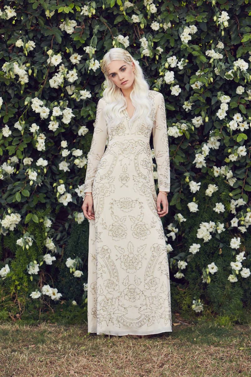 Needle & Thread Lace Imprint Maxi Dress