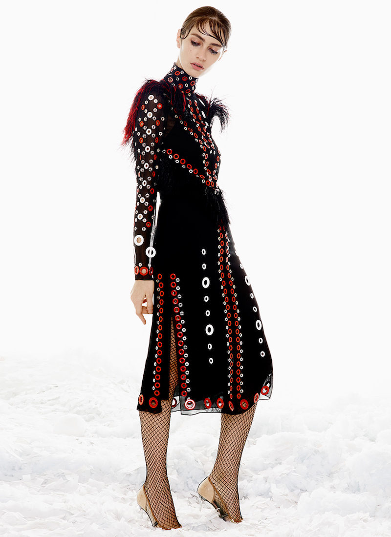 Proenza Schouler Chiffon Eyelet Embroidery Dress