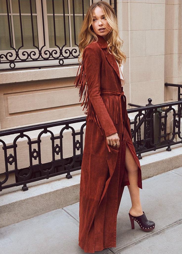 Rachel Zoe Loni Suede Fringe Maxi Coat