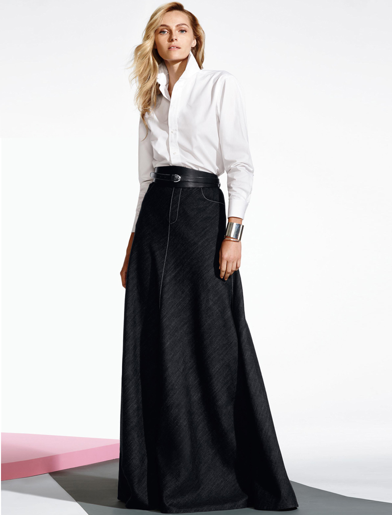 Ralph Lauren Denisa Long Denim Skirt