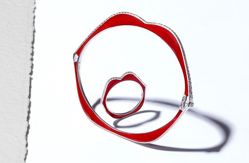 Raphaele Canot OMG! diamond, red enamel and white-gold bracelet and ring