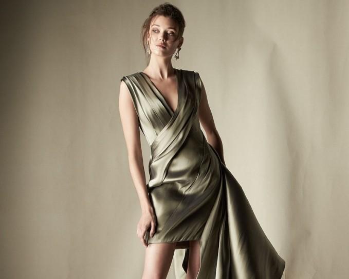 Rubin Singer Sleeveless Pleated Liquid Dress