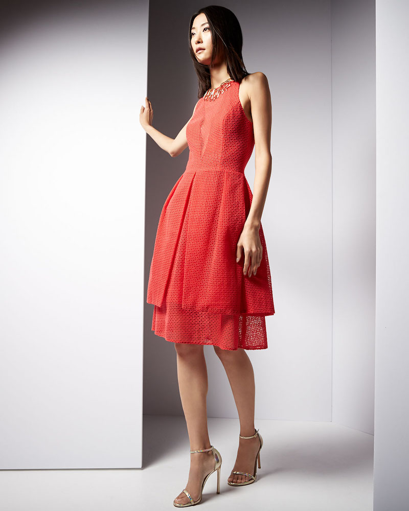 Sachin & Babi Noir Sleeveless Eyelet-Overlay Sheath Dress