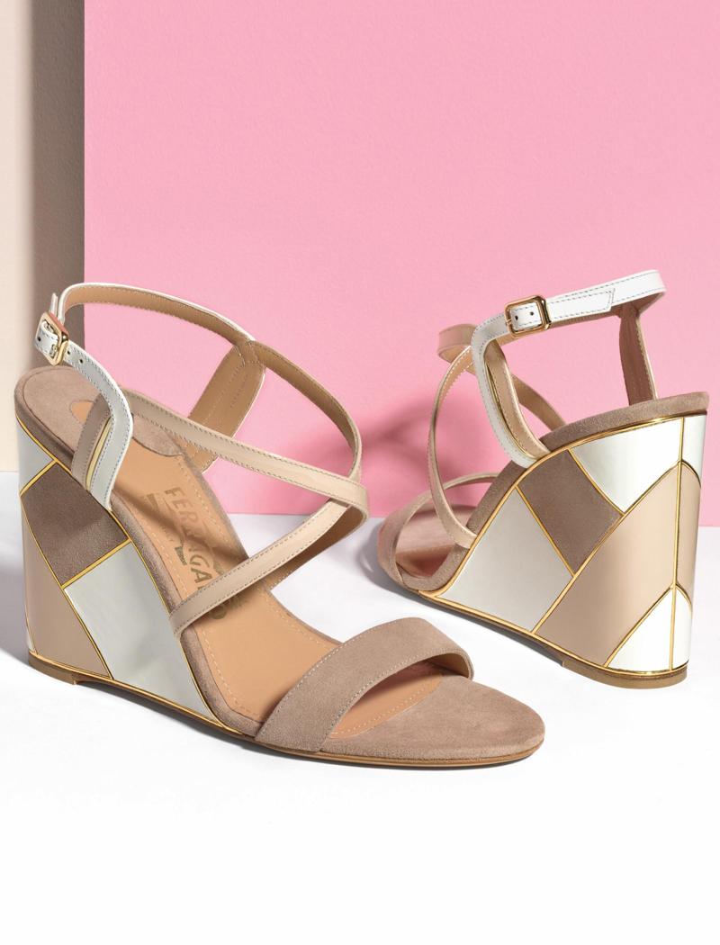 Salvatore Ferragamo Colorblock Suede & Leather Wedge Sandals