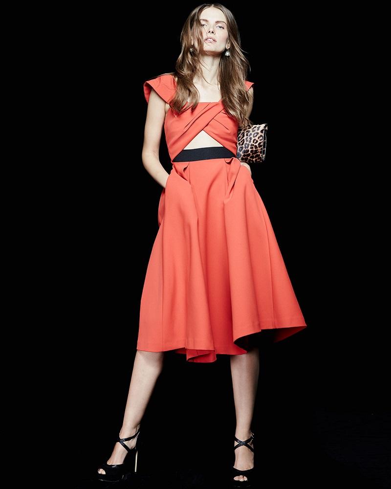 Self Portrait Ayelette Cutout Double-Crepe Dress