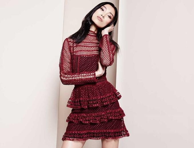 Self Portrait Long-Sleeve Tiered Lace Dress-