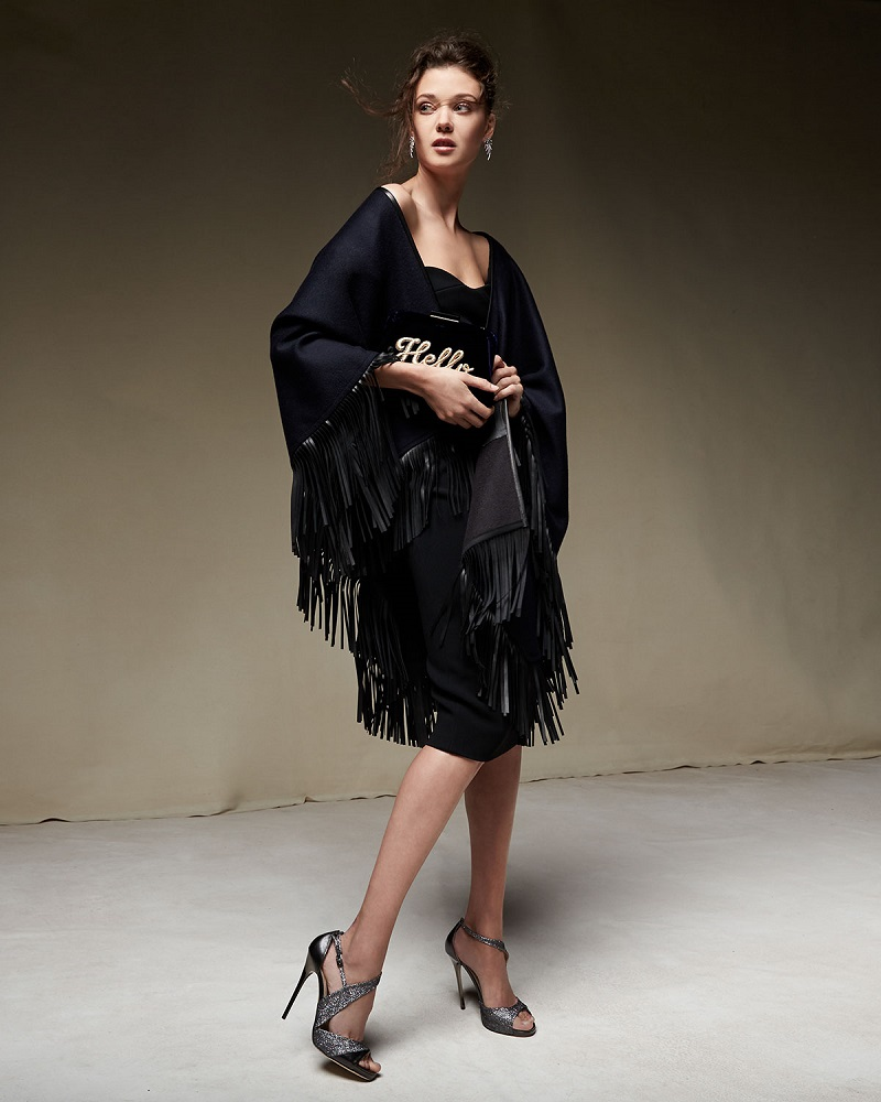 Sofia Cashmere Cashmere Leather-Fringe Cape