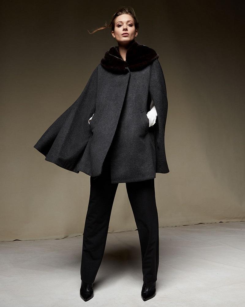 Sofia Cashmere Mink Fur-Collar Cashmere Cape