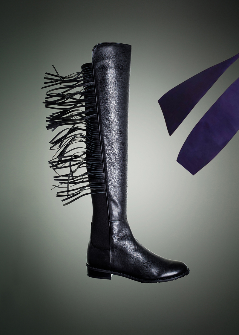 Stuart Weitzman Stretch Leather Mane Boots