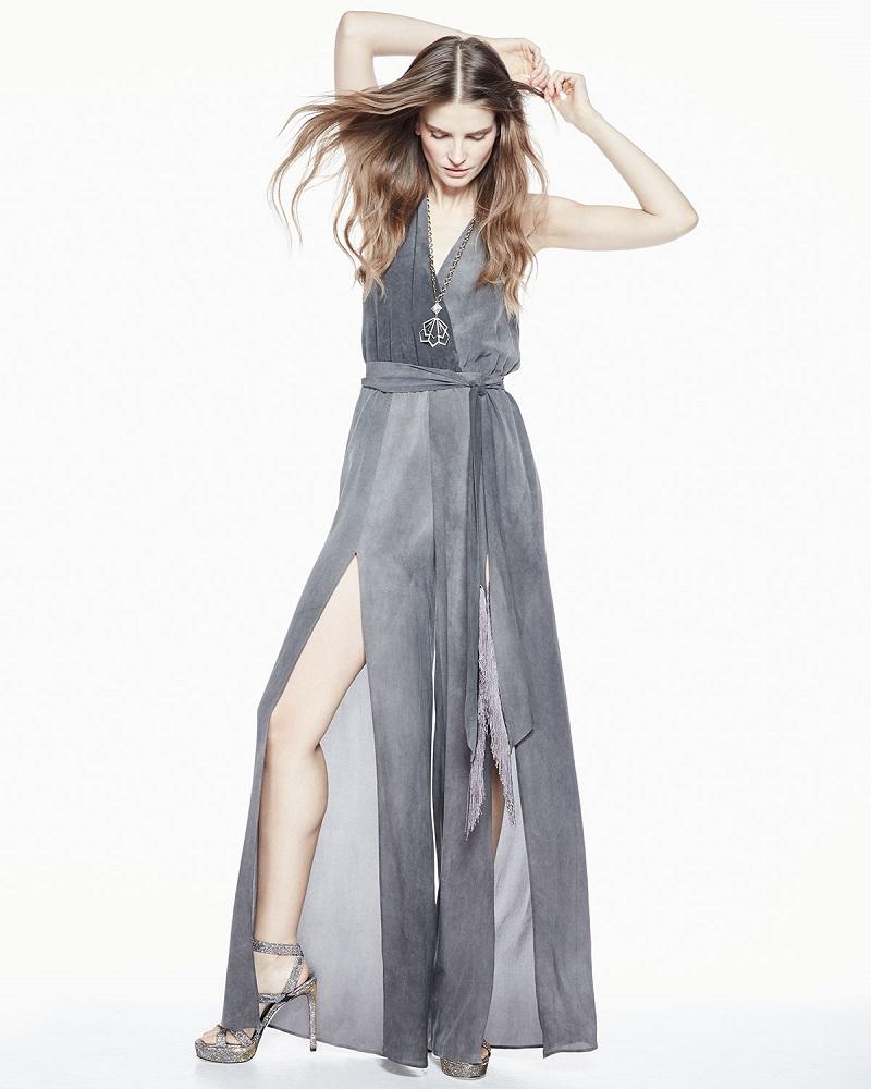 Tamara Mellon Silk Halter Jumpsuit w Fringe Belt