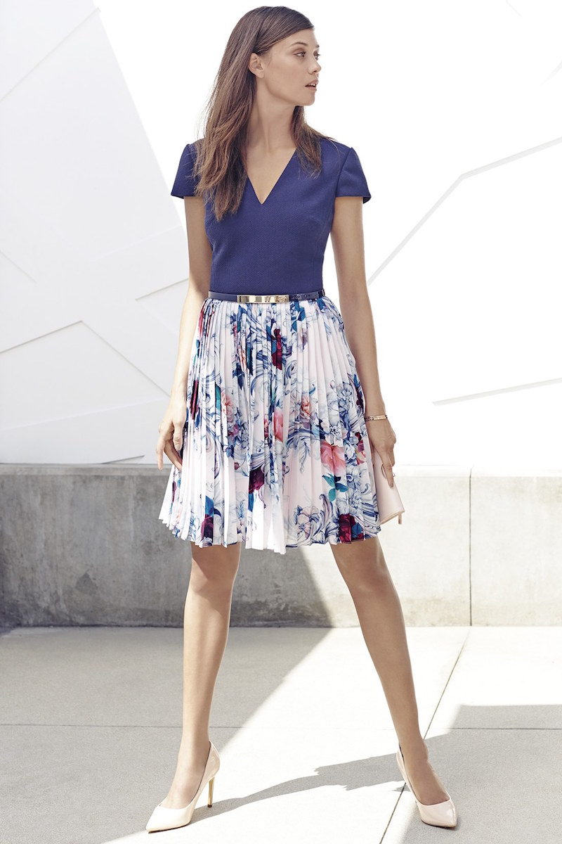 Ted Baker London Dessy Acanthus Scroll Cap Sleeve Dress