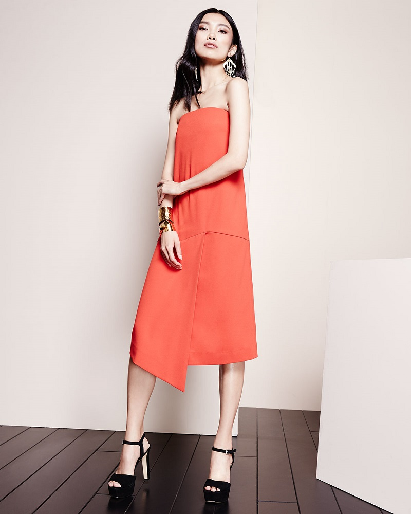 Tibi Draped Strapless Shift Dress
