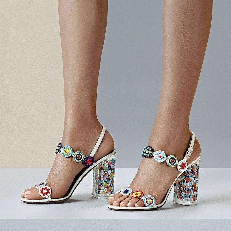 Valentino Beaded Lucite-Heel Sandals
