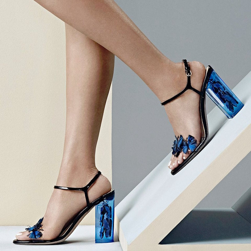 Valentino Butterfly Lucite-Heel Sandals