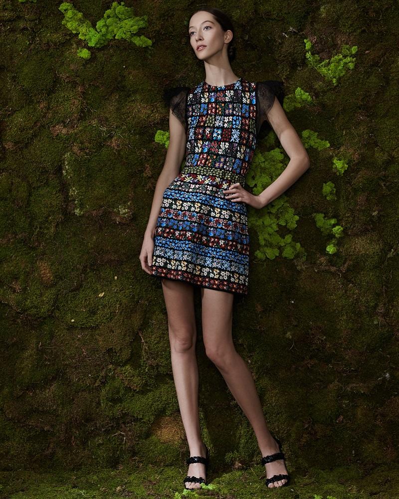 Valentino Jewel-Neck Flutter-Sleeve Mini Dress