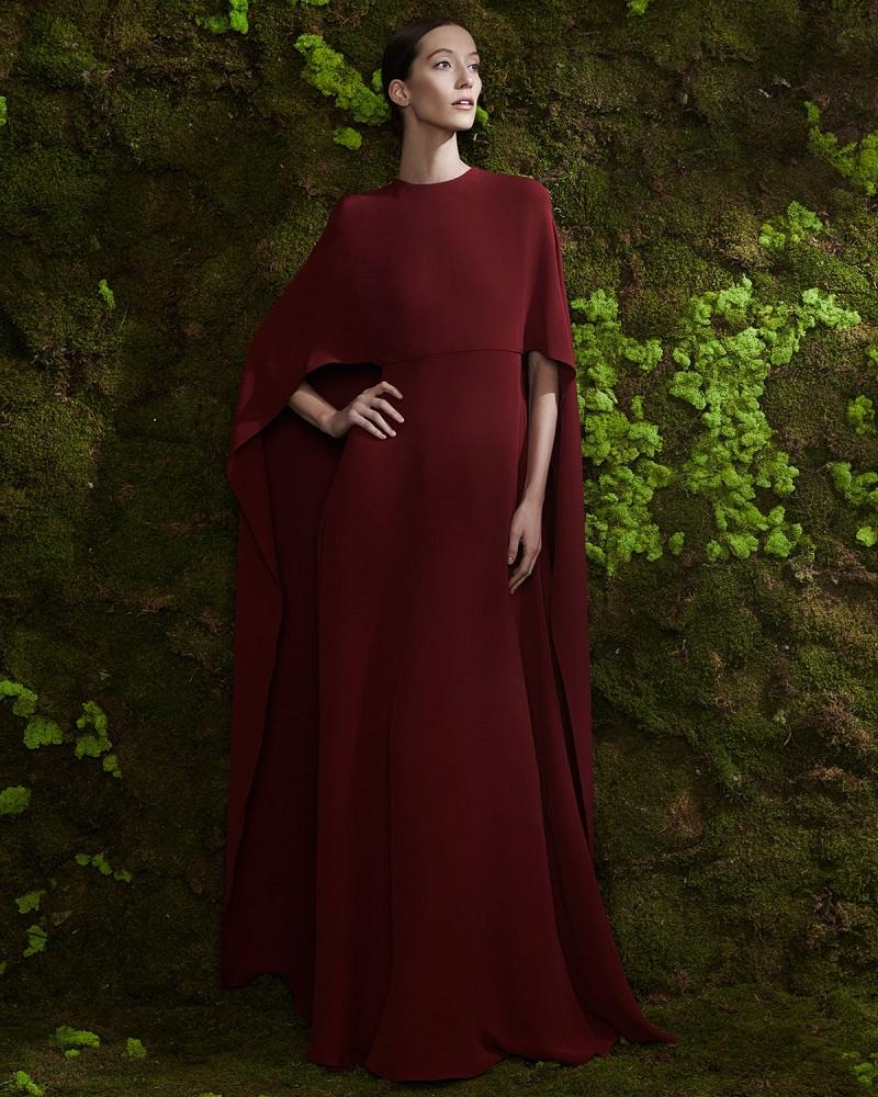 Valentino Jewel-Neck Half-Sleeve Capelet Gown