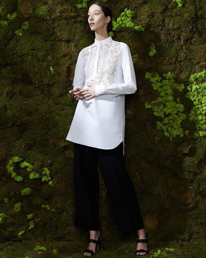 Valentino Long-Sleeve Lace-Bib Blouse