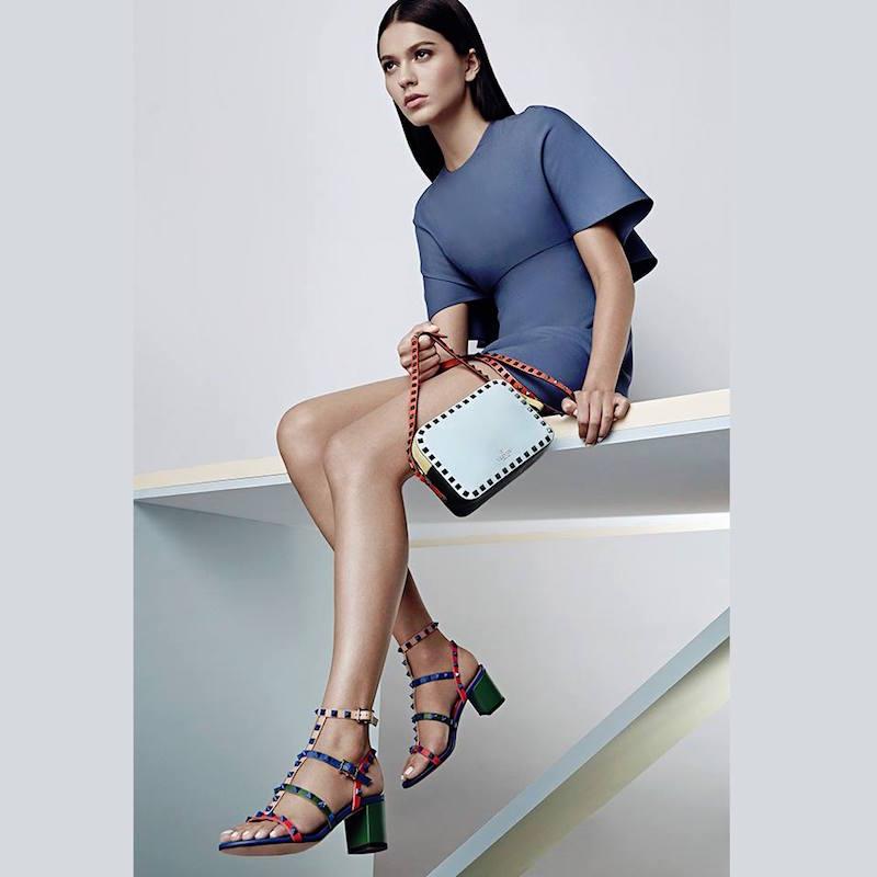 Valentino Rockstud Colorblock Leather City Sandals