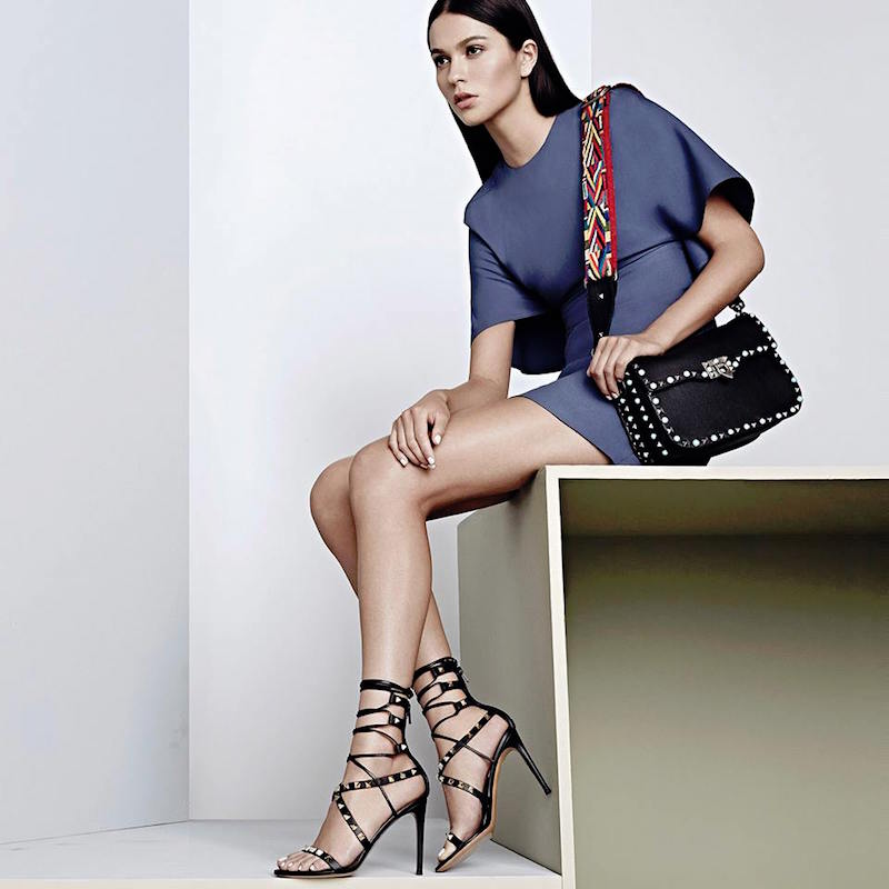Valentino Rockstud Leather Lace-Up Gladiator Sandals