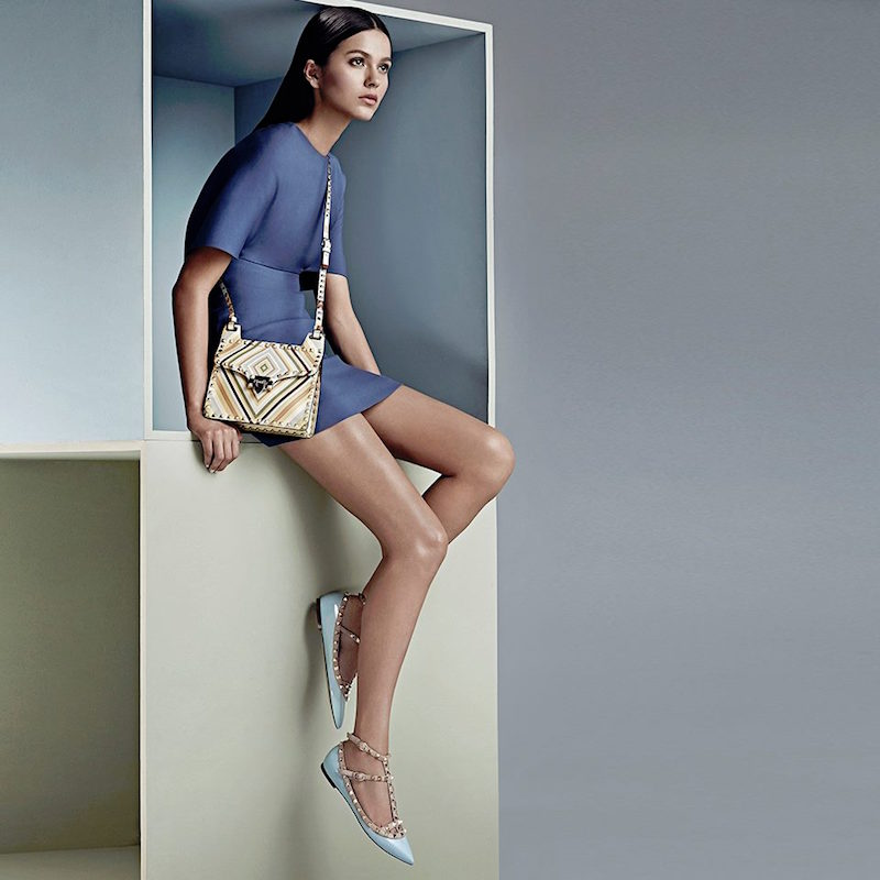 Valentino Rockstud Multicolor Chevron-Print Leather Shoulder Bag