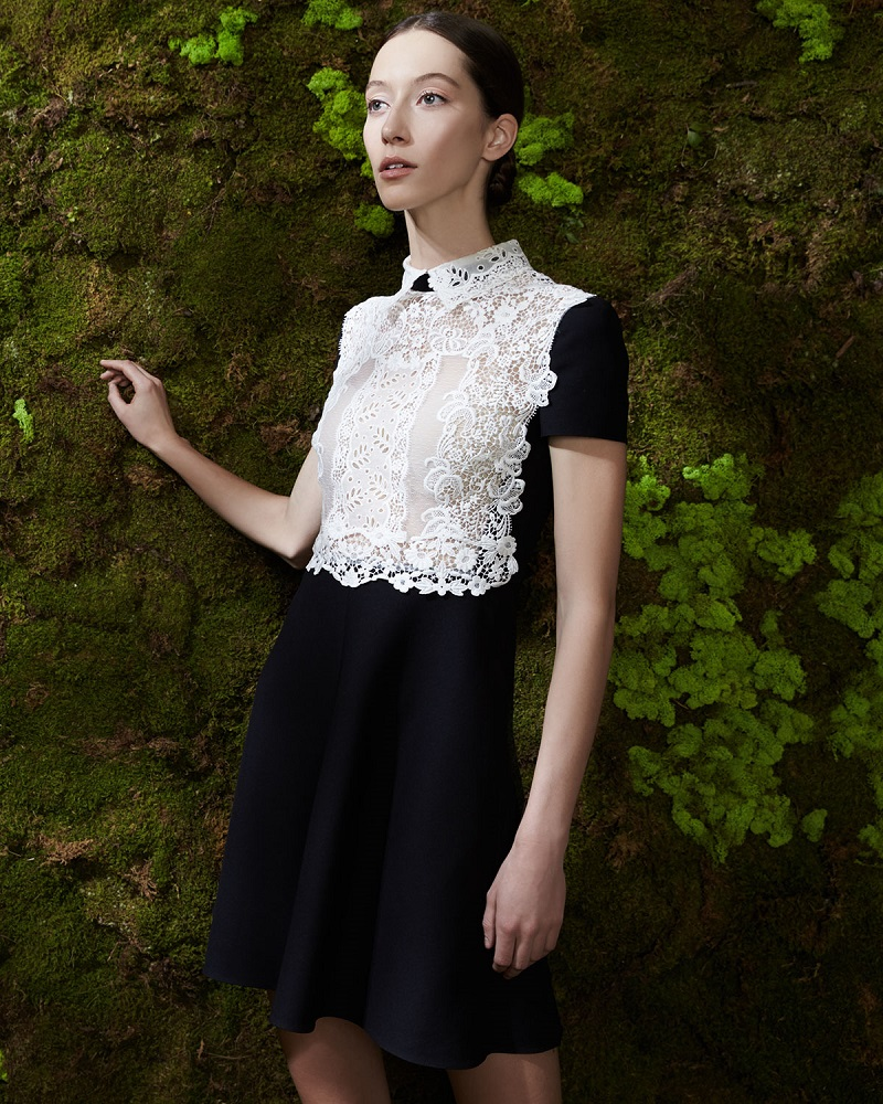 Valentino Short-Sleeve Lace-Front Dress