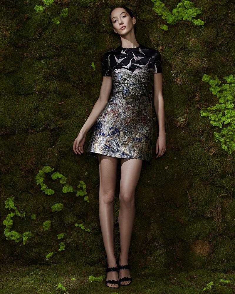 Valentino Short-Sleeve Landscape-Print Dress