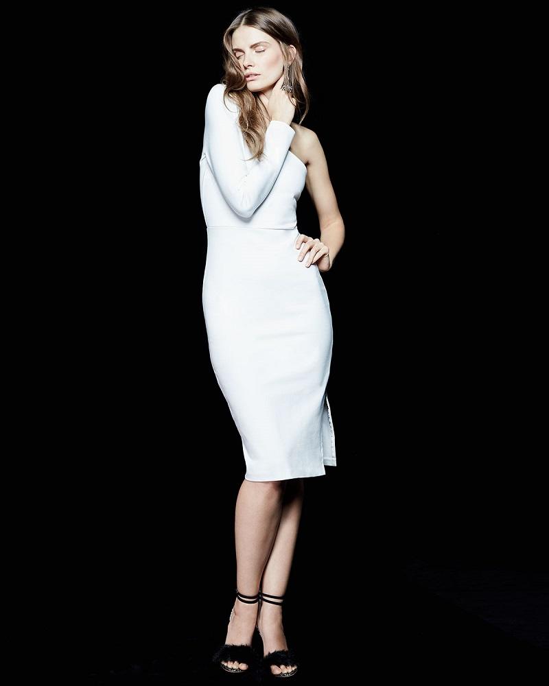 Veronica Beard One-Sleeve Side Zip Ponte Dress