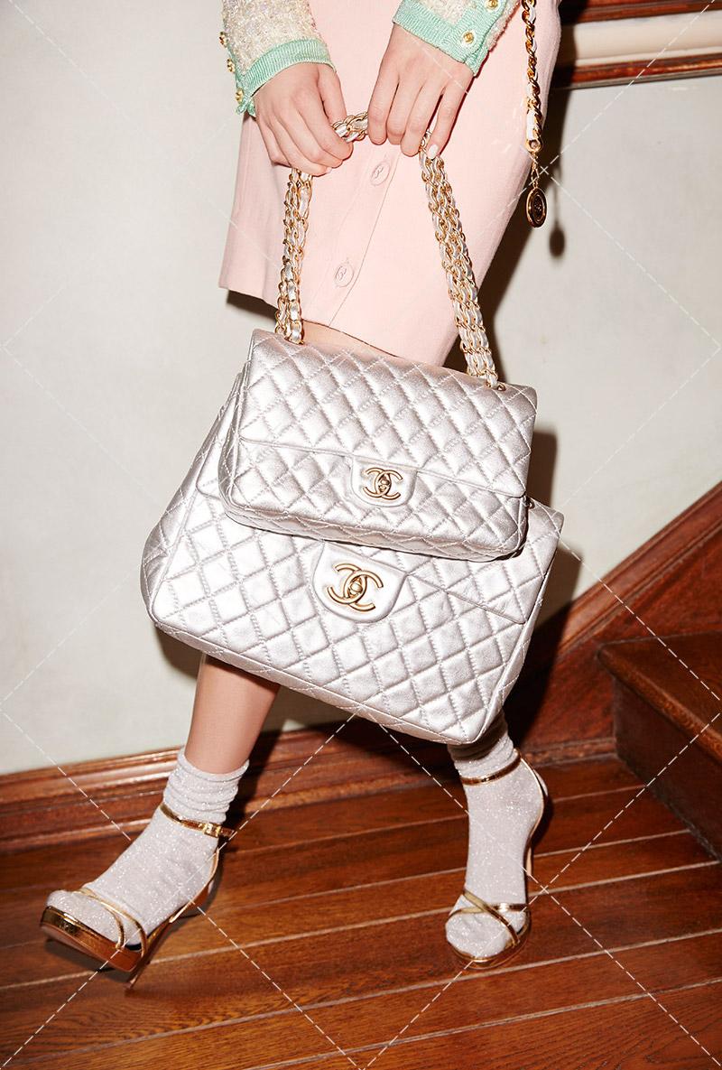Vintage Chanel Silver Leather Jumbo Bag