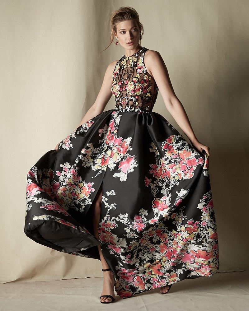 Zuhair Murad Sleeveless Floral-Print Ball Gown