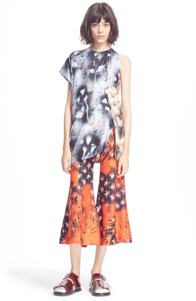 ACNE Studios Grix Asymmetrical Floral Print Silk Top