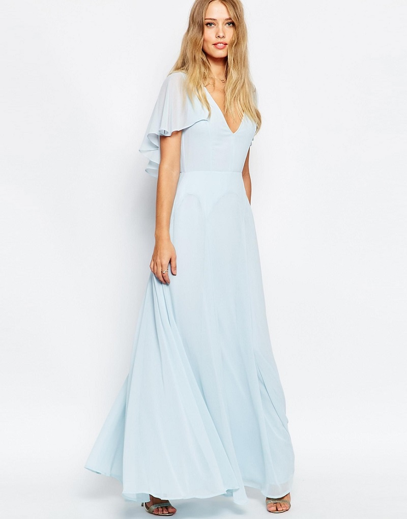 ASOS PETITE Flutter Sleeve Cape Back Maxi Dress