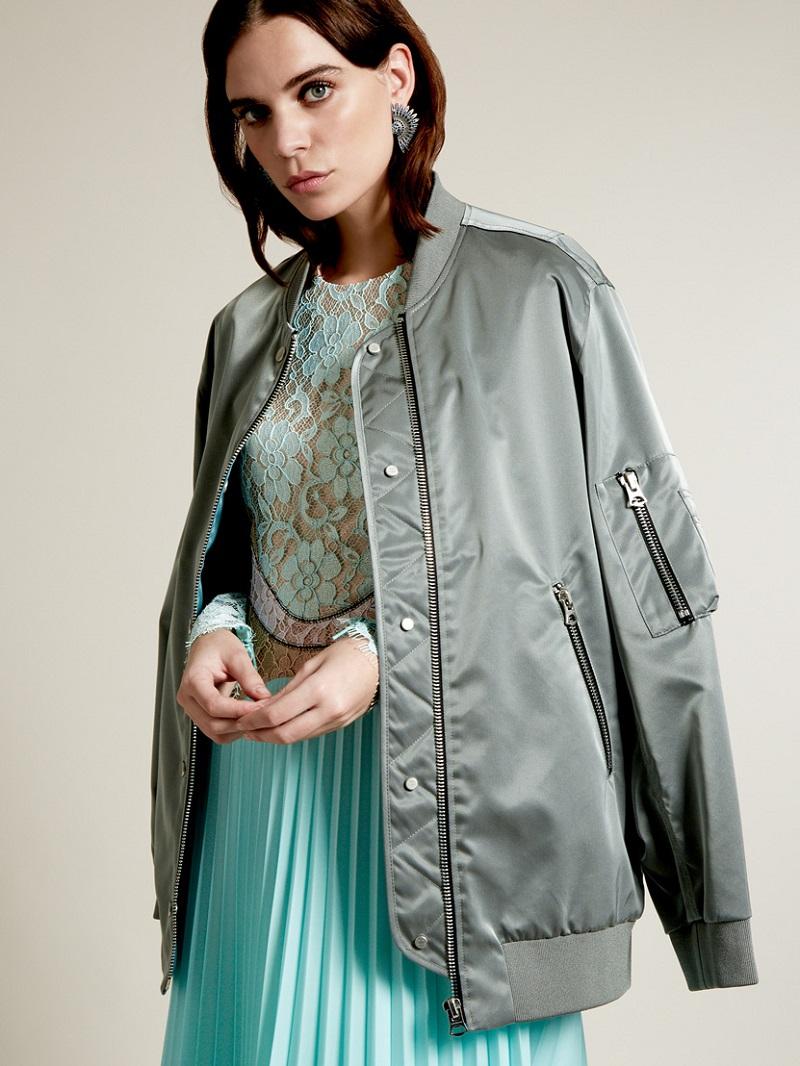 Acne Studios Varden satin oversized bomber jacket