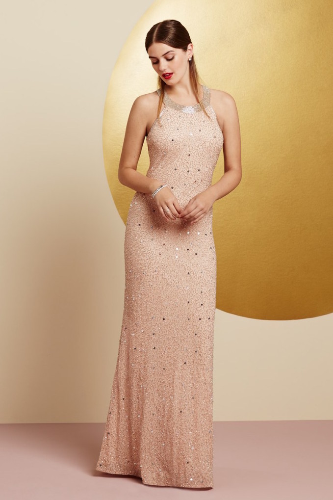 Adrianna Papell Caviar Illusion Back Beaded Gown