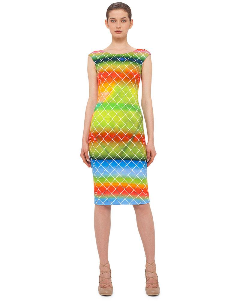 Akris punto Baseball-Net Striped Sheath Dress