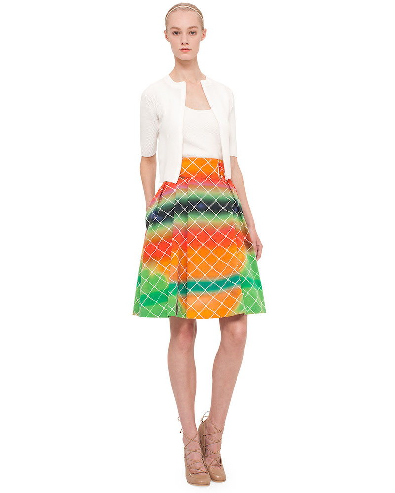 Akris punto Net-Print A-Line Cotton Skirt