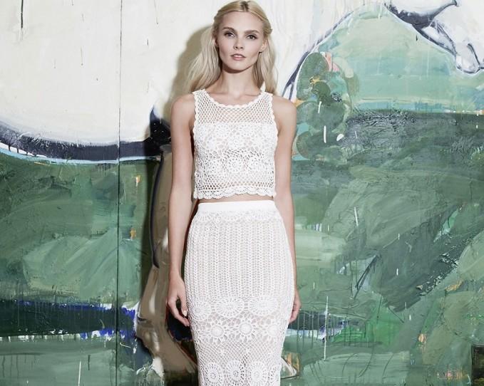Alice + Olivia Izzie Sleeveless Crochet Crop Top -