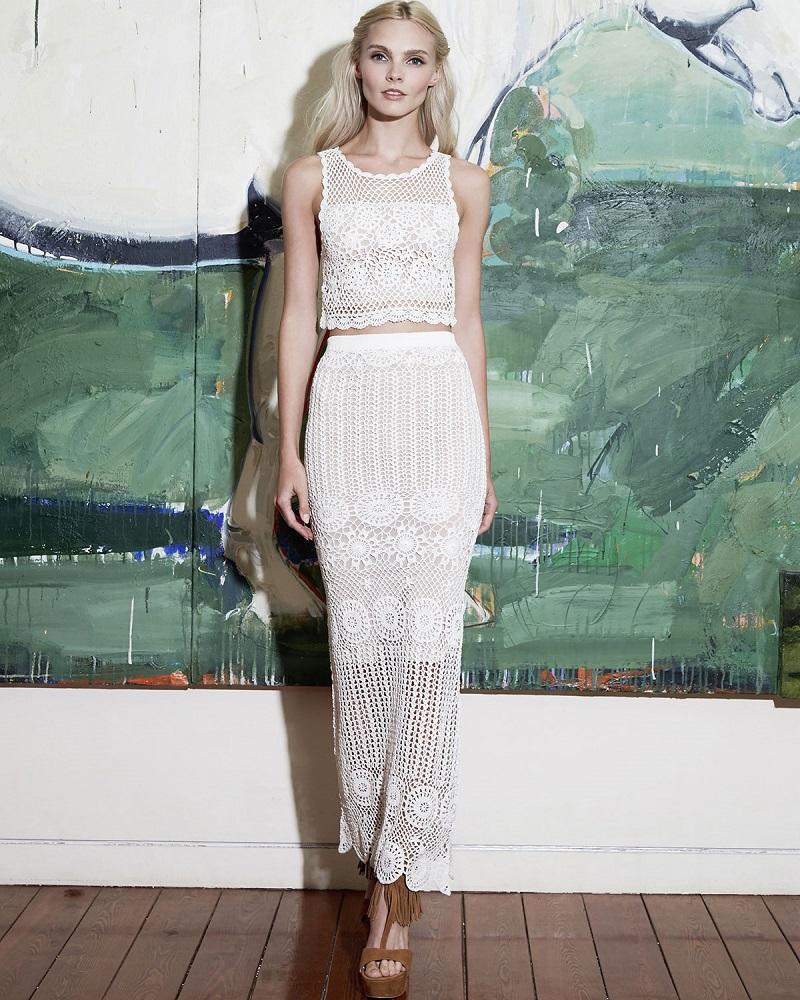 Alice Olivia Izzie Sleeveless Crochet Crop Top