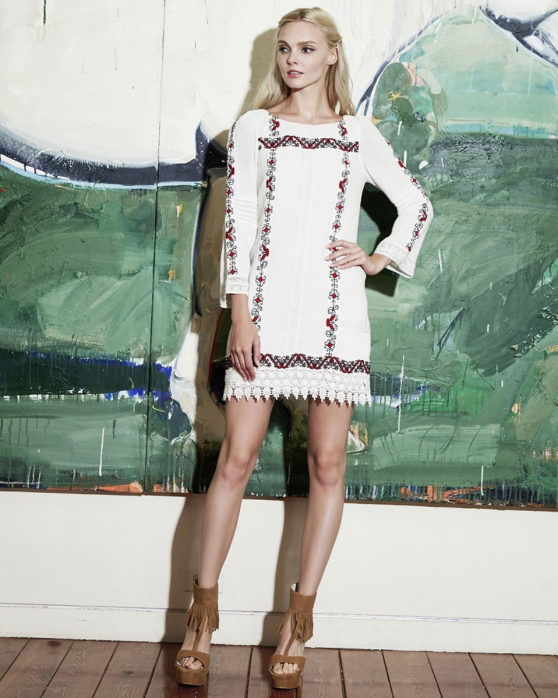Alice + Olivia Riska Embroidered Mini Dress