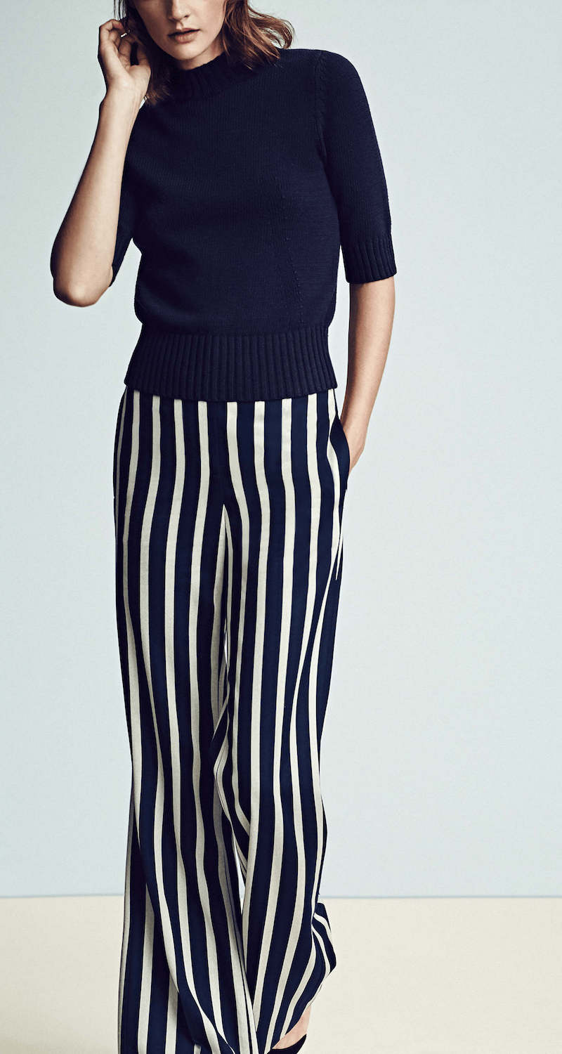 Ann Taylor Fluid Stripe High Waist Flare Trousers