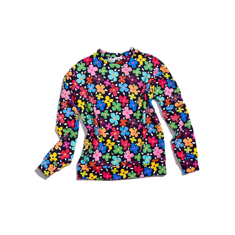 Au Jour Le Jour Swarovski Crystals Floral Sweatshirt